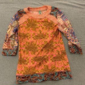 Multi-pattern 3/4 sleeve rash guard top by Maaji